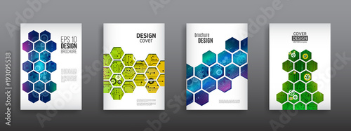Abstract technology cover with hexagon elements Wallpaper Mural