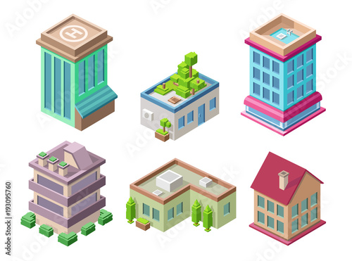 Isometric Residential Buildings And City Houses Vector Illustration 3d  Architecture Objects For Construction Design. Residential