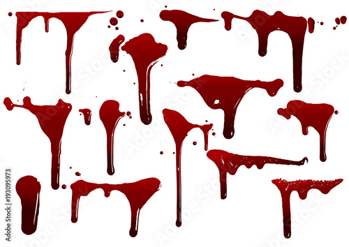 Stampa su Tela collection various blood or paint splatters,Halloween concept