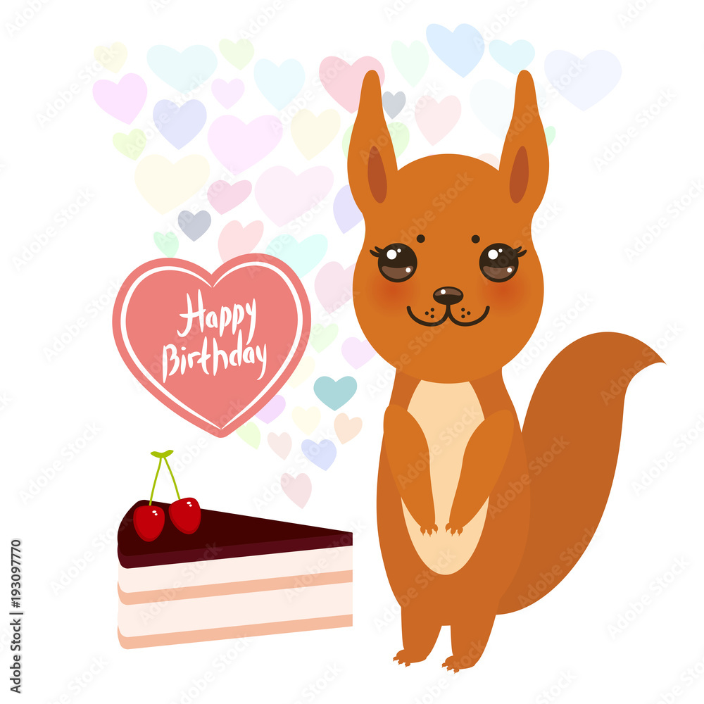 Happy Birthday Card Cute Kawaii Squirrel With Cake Balloon In The Shape Of Heart Pastel Colors On White Background Foto Poster Wandbilder Bei