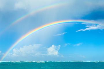 Double rainbow over the ocean
