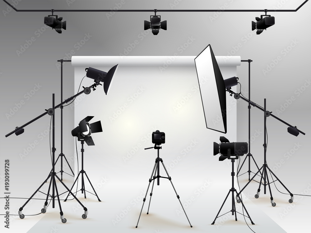 Fototapety, obrazy: Photography studio vector. Photo studio white blank background with soft box light, camera, tripod and backdrop. Vector illustration. Isolated on white background