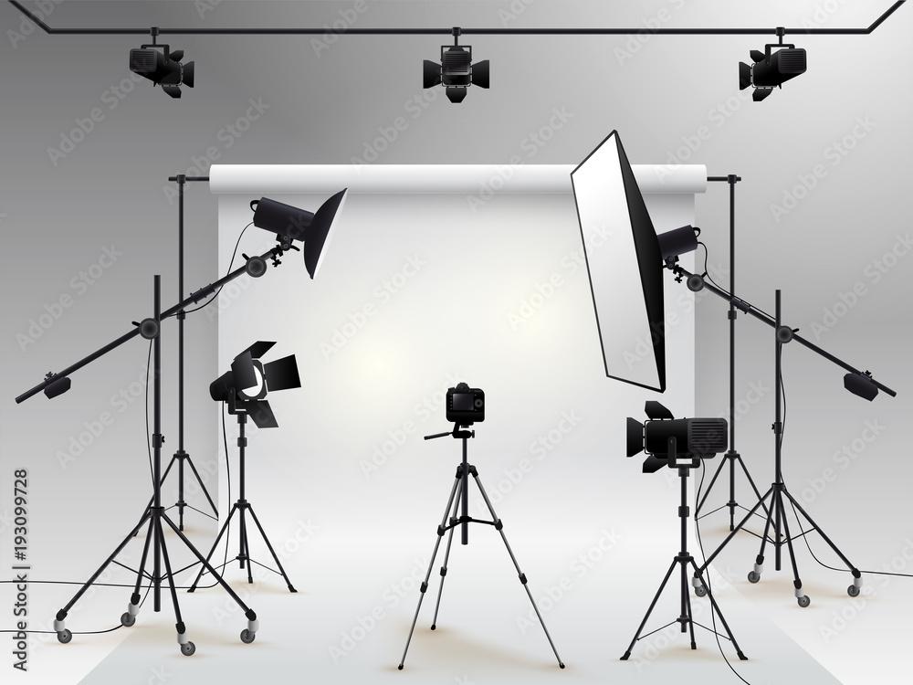 Fototapeta Photography studio vector. Photo studio white blank background with soft box light, camera, tripod and backdrop. Vector illustration. Isolated on white background