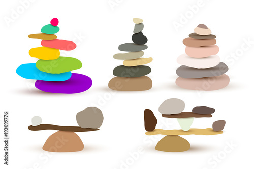 Leinwand Poster Set of harmony and balance, colorful stone cairn pebbles