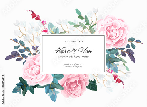 Botanical wedding invitation design with pale roses succulents botanical wedding invitation design with pale roses succulents eucaliptus flowers and green leaves on junglespirit Image collections