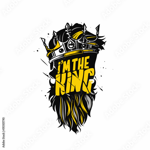 Fotografia King beard and crown vector illustration.