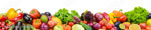 Poster Fruit Panoramic collection fresh fruits and vegetables for skinali isolated on white background.