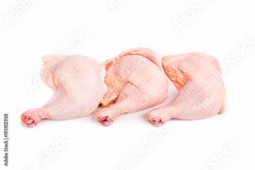 Keuken foto achterwand Kip Raw chicken legs isolated on white background.