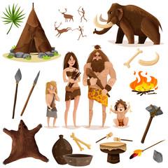 Cavemen Decorative Icons Set