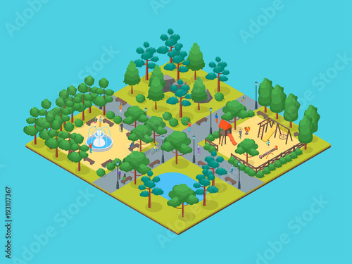 Spoed Foto op Canvas Turkoois Green City Park Concept 3d Isometric View. Vector