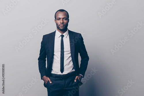 Portrait of stunning, manly, brutal man in black tux, tuxedo with white shirt an Canvas-taulu