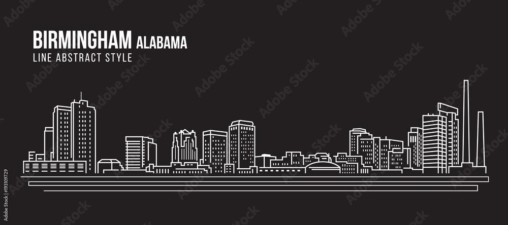 Fototapeta Cityscape Building Line art Vector Illustration design - Birmingham city Alabama