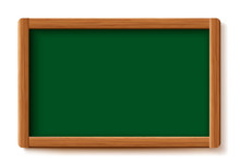 Green Menu Chalkboard. Wood Board  Frame Isolated On White Background. Vector Illustration Design..
