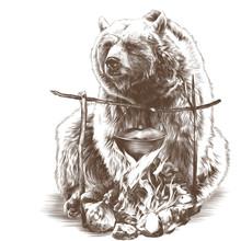 Bear Sitting Near Fire, Sketch...