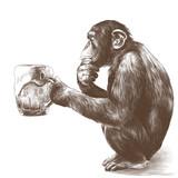 małpa siedząca na zadach z zamyślonym spojrzeniem i trzymająca w łapach szklankę piwa, szkicu grafiki wektorowej monochromatycznego rysunku - 193117393