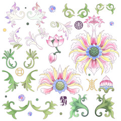 Set of elements to create designs in style of chinese porcelain. Lotus flowers and leaves are painted by watercolor.