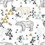 Jednolity wzór plemienny z niedźwiedziami polarnymi i trójkątami low poly. Projektowanie tkanin dla dzieci i niemowląt. Ilustracji wektorowych. - 193117731