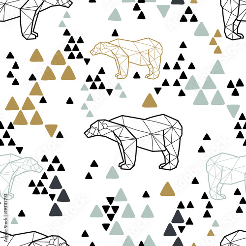 Tela Seamless tribal pattern with low poly polar bears and triangles