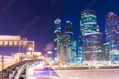 Seoul Night view of the Moscow International Business Center, also referred to as Moscow City is a commercial district in central Moscow, Russia