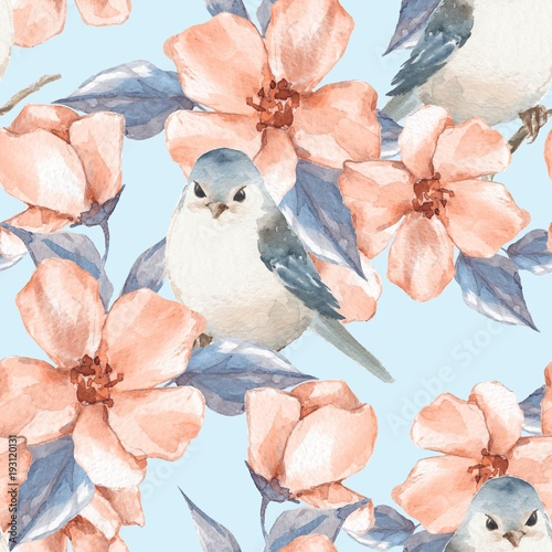 wiosenne-kwiaty-i-ptaki-akwarela-kwiatowy-wzor-2
