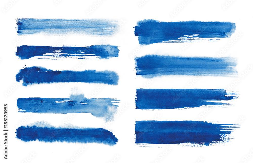 Fototapeta Watercolor. Blue abstract painted ink strokes set on watercolor paper. Ink strokes. Flat kind brush stroke.