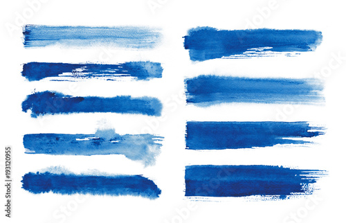 Obraz Watercolor. Blue abstract painted ink strokes set on watercolor paper. Ink strokes. Flat kind brush stroke. - fototapety do salonu