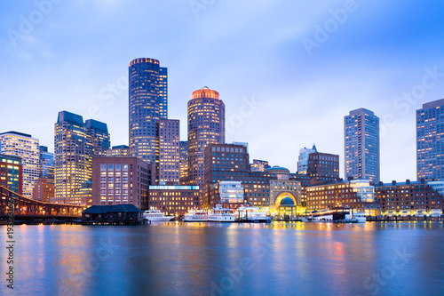 Spoed Fotobehang Centraal-Amerika Landen Financial District Skyline and Harbour at Dusk, Boston, Massachusetts, USA
