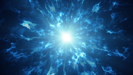 Fractal blue plasma waves abstract futuristic background