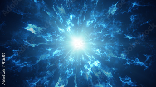 Poster Fractal waves Fractal blue plasma waves abstract futuristic background