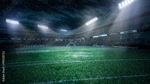 Spoed Foto op Canvas Stadion empty soccer stadium in light rays at night 3d illustration