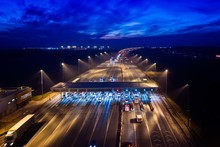 Aerial Drone View On Motorway With Toll Collection Point