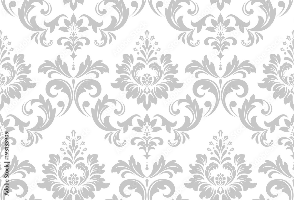 Fototapeta Wallpaper in the style of Baroque. A seamless vector background. White and grey floral ornament. Graphic vector pattern.