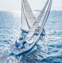 Sailing Boats From Bird View C...
