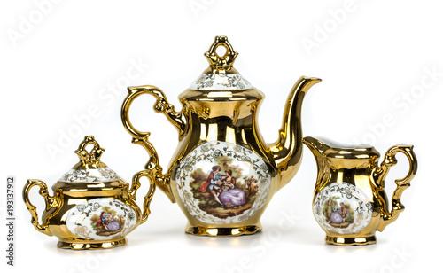 porcelain tea set on white Fototapete