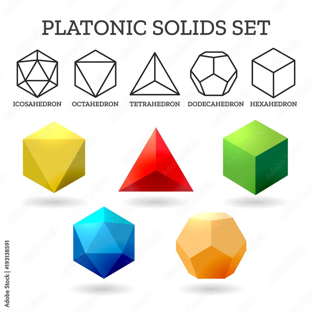 Fototapety, obrazy: Platonic 3d shapes. Platon geometry abstract solid icons isolated on white background, vector illustration