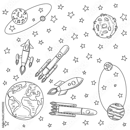space ships fly away from the earth to other planets planets and