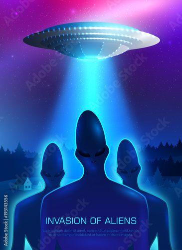 Fotomural Alien Invasion Illustration