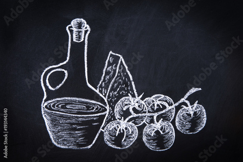 hand drawn chalk illustration on blackboard with composition of