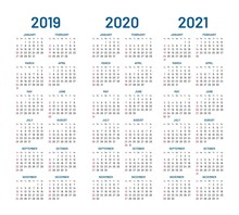 Year 2019 2020 2021 Calendar Vector Design Template. Compound Planner With Blue Letters And Numbers On A White Background. Vector Illustration