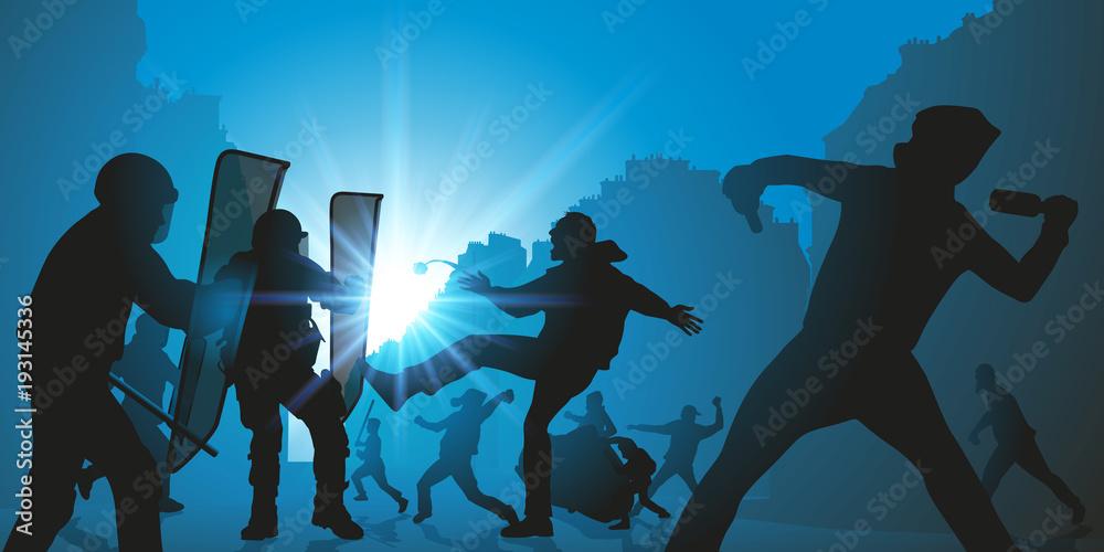 Fototapeta manifestation - manifestant - manif - émeute -police - manifester - conflit social - violence - plan social