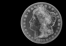 One Silver Dollar Closeup In Black And White Closeup