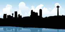 Skyline Silhouette Illustration Of The Downtown Of The City Of Niagara Falls, Ontario, Canada.