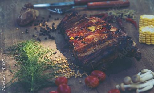Foto op Aluminium Scandinavië Roasted pork ribs herbs