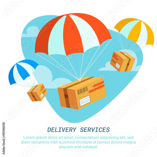 Delivery service concept. Flat design colored vector illustration of package with parachute. Fast Delivery Service, Parcels Delivery, Free shipping web banners template.