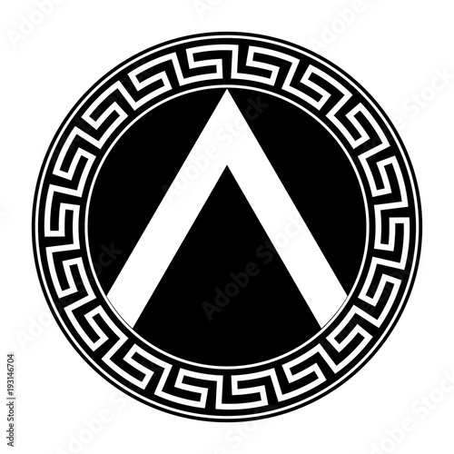 Spartan shield with Greek ornament.