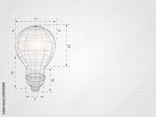Obraz Wireframe lightbulb on grid represent technology concept and innovation. Technology Background. Vector Illustration. - fototapety do salonu