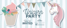 Unicorn Party Invitation Card With Floral Decoration And Cupcake Vector Illustration Design
