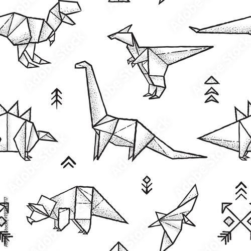 origami-dinozaurow-wzor-w-kolorze-czarnym