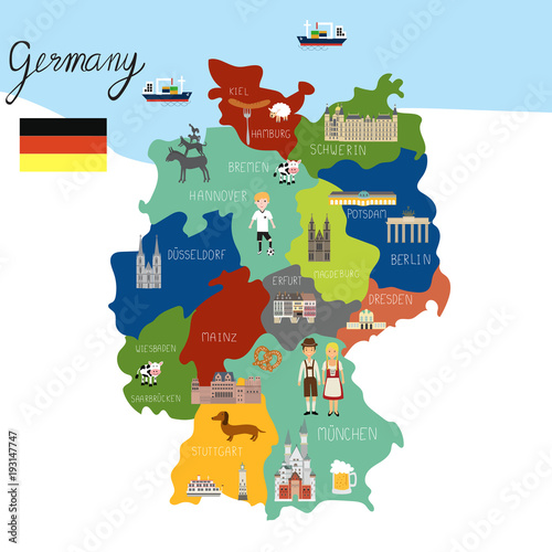 Fotografie, Obraz Germany map hand draw vector. illustration EPS10.