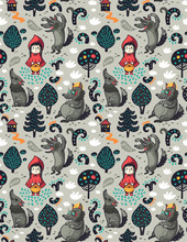 Seamless Pattern With Little Red Riding Hood And Gray Hungry Wolf In The Forest. Fairytale Imagination Background